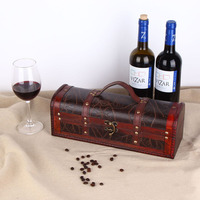 Retro Wooden Wine Gift Box Red Wine Champagne Storage Wrap Packaging Vin Packing Suitcase Travel Kit