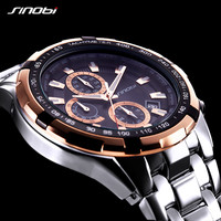 SINOBI Men Watches 2018 Luxury Brand Chronograph Luminous Stainless Steel Business Quartz Sport Waterproof Clock Male Watch xfcs