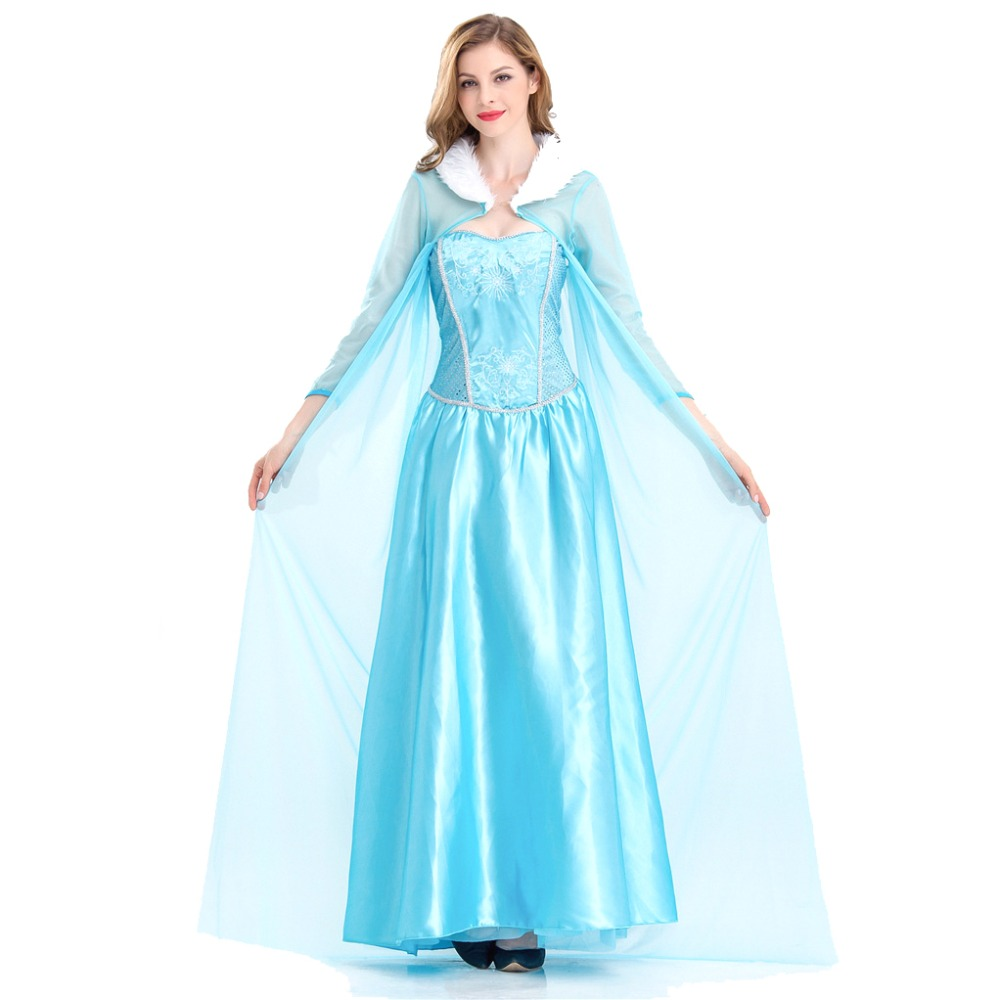 Elsa Princess Adult Women Fancy Party Dress Halloween Roleplay Costume Elsa Dresses Blue Snow Queen Cosplay Dress