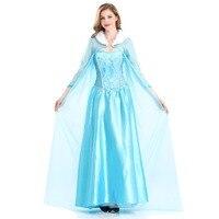 Elsa Princess Adult Women Fancy Party Dress Halloween Roleplay Costume Elsa Dresses Blue Snow Queen Cosplay Dress