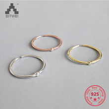 100% S925 Sterling Silver Temperament Wild Minimalist Fine zircon opening ring index finger ring female jewelry 100% genuine 925 sterling silver retro men male ring thai silver fine jewelry gift snake cross heavy finger ring ch057436
