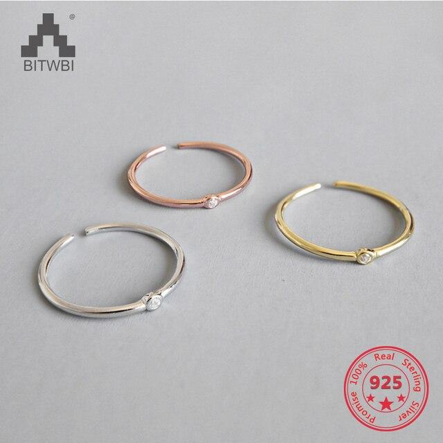 100% S925 Sterling argent tempérament sauvage minimaliste Fine zircon anneau d'ouverture index bague femme bijoux