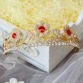 Estrella de la moda de oro rosa rhinestone rojo corona de la corona tocado de novia vestido de novia de la boda accesorios de la joyería
