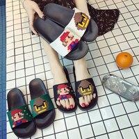 Été femmes diapositives femmes chaussures pantoufles mignon Pixel amoureux baignent sandales sans lacet tongs plage pantoufles Zapatillas Mujer