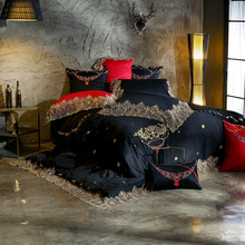 Luxury Black Red Beige Purple Egyptian cotton Gold Lace Embroidery European Wedding Bedding Set Duvet Cover Bed sheet Pillowcase
