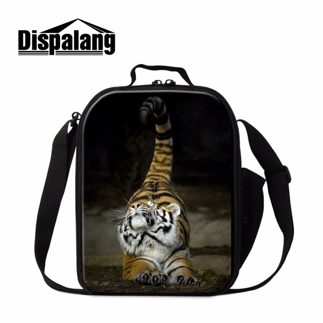 44bbb6e53559 Cool Tiger Zipper Insulated Lunch Cooler Bags for Kids Boys Thermal Lunch  Bags Small Square Messenger Lunch Box Bag for Children