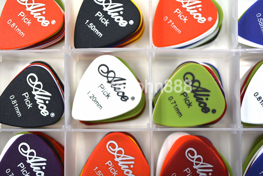 Lots of 100pcs Matte ABS Alice Electric/Acoustic Guitar Picks Plectrums 6 Thickness Assorted With Picks Box Case Free Shippng