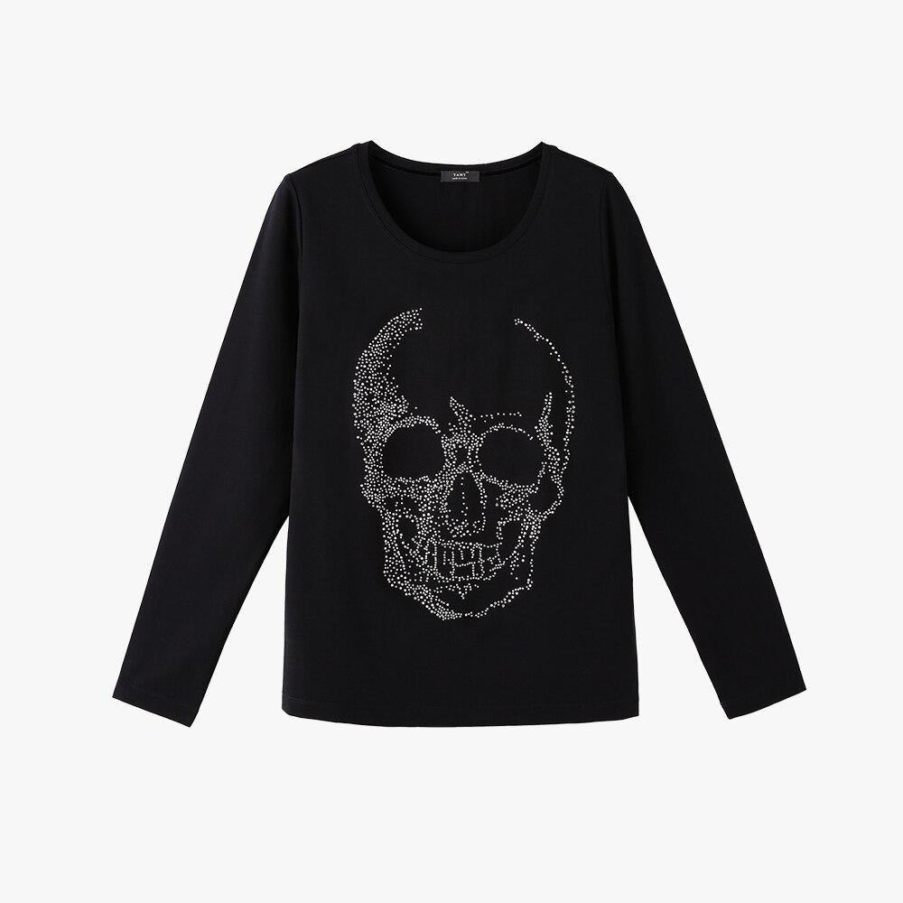 Black t shirt skull - Punk Style Women Skull Rhinestones Tshirt Long Sleeve Thick T Shirt With Rhinestone High Quality Women Tee Shirt Pullover Black