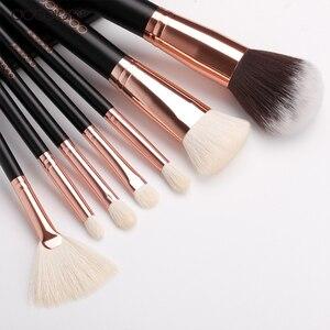 Image 5 - Docolor 15 sztuk pędzle do makijażu zestaw fundacja Powder Eyeshadow pędzel do makijażu włosy syntetyczne pędzel z włosia kozy zestaw narzędzia do makijazu