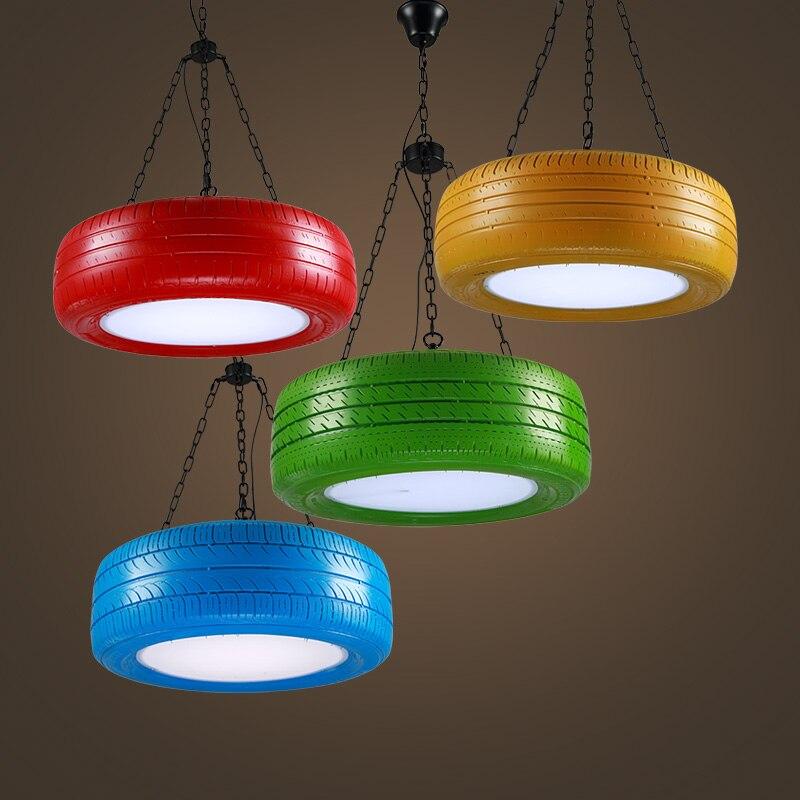 Lámpara colgante de neumático Retro industrial, luces de goma para cafetería restaurante Bar personalidad rojo verde azul amarillo lámparas ZA