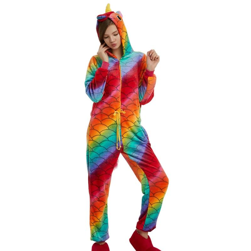 Adult Kigurumi Animal Pajamas Set Women Men Scale Unicorn Pajamas Cartoon Cosplay Onesie Winter Flannel Unisex Adults Sleepwear