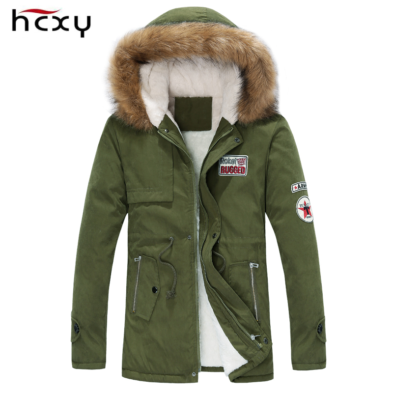 2016 men's thick warm winter coat fur collar army green men parka big yards long cotton jacket - HCXY Brothers wardrobe Store store