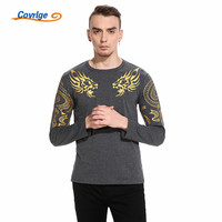Covrlge Shirt Men 2018 Brand Long Sleeve Hip Hop Male T Shirts Mens Tattoo Printing Casual