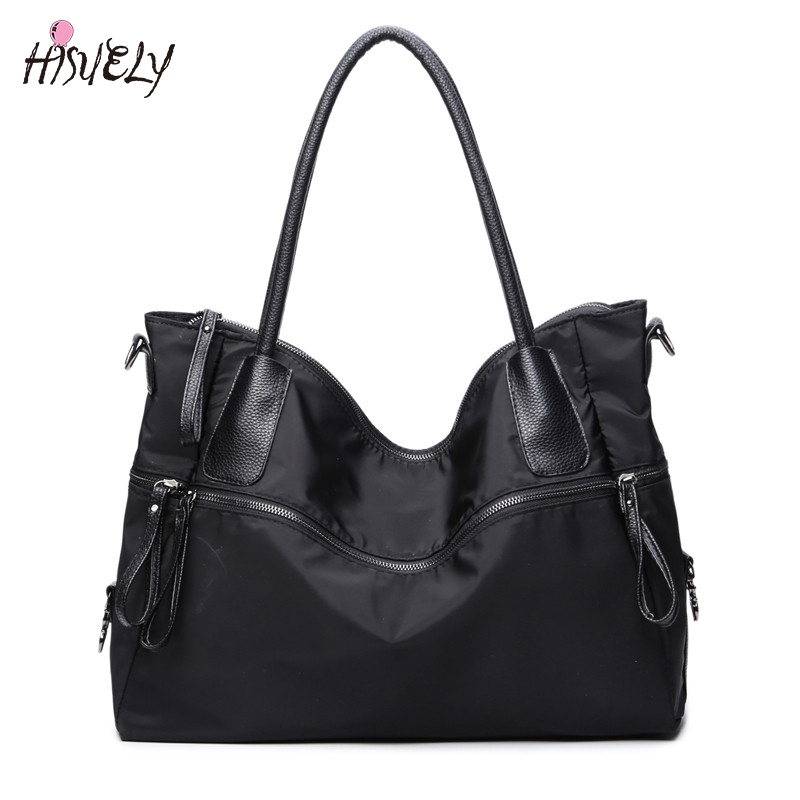 Black Bag Travel-Bag Casual Tote Women Handbag Single-Shoulder-Bag Larger-Capacity Simple