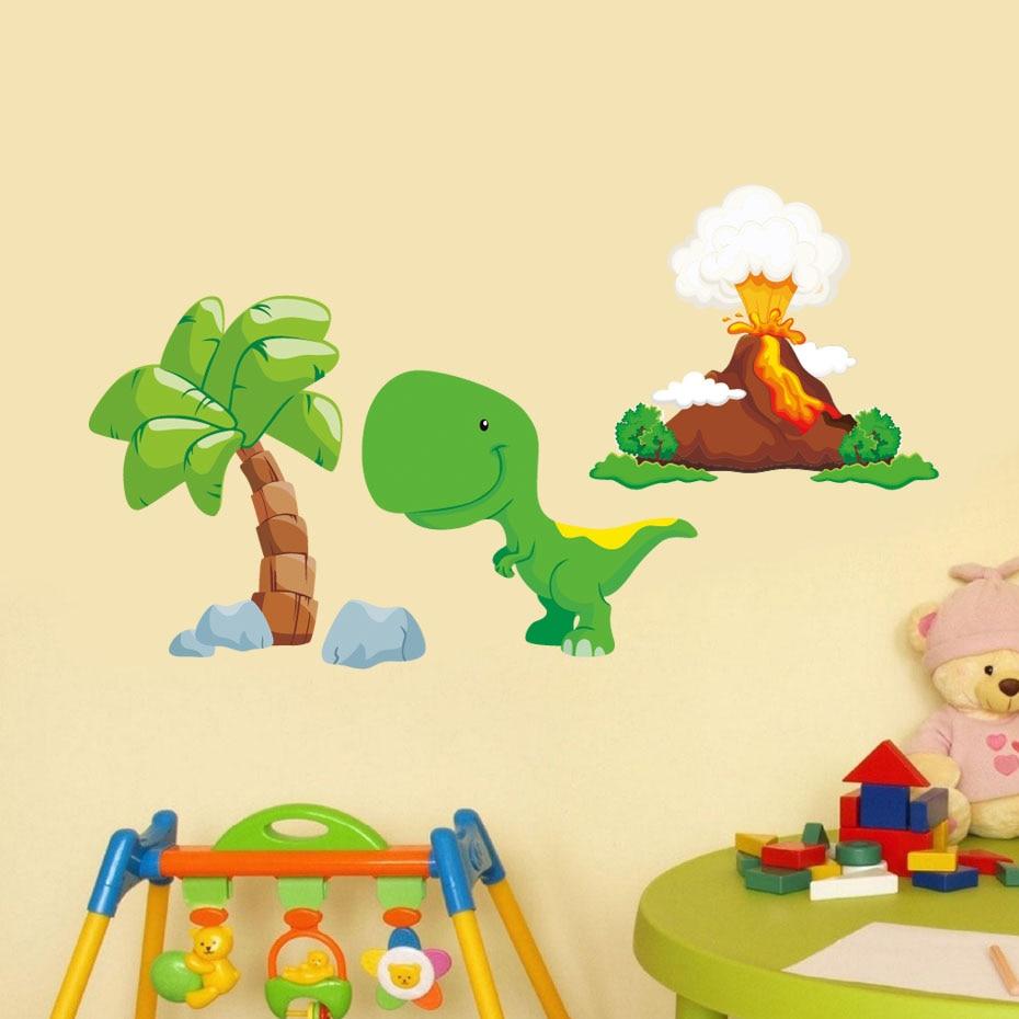 3d Cartoon Dinosaur Wall Sticker Cute Baby Dinosaurs Tree Volcanic ...