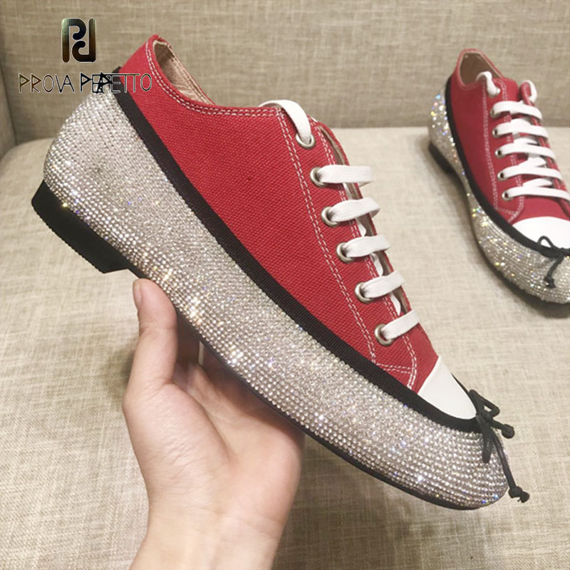 Prova Perfetto 2018 New Lady Flat Shoe Denim Lace Up Bling Bling Diamond Studded Bowtie Casual Shoe Perfect Women Spring Shoe 2016 spring new fashion hot sale women sandal casual lace lazy shoe women flat shoe hsc20