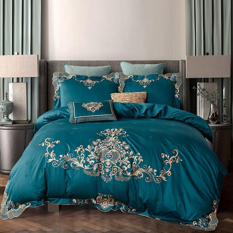 Juego de ropa de cama de lujo 100% algodón bordado conjunto de edredón azul Rosa gris conjuntos de ropa de cama Queen/king size conjunto de sábanas kropa de cam-in Juegos de ropa de cama from Hogar y Mascotas    1