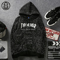 Autumn New Fashion Thrasher hooide cotton ink robe with hood black couple pullover puls size M-4XL assc sweat suits men Trasher