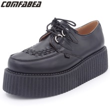 Platform Shoes Harajuku Flats Spring Womens Casual Ladies PU Lace-Up Black Autumn