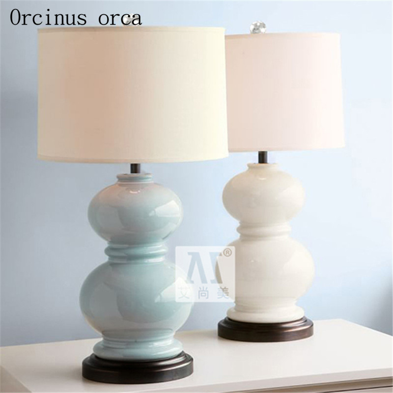 Mediterranean modern minimalist ceramic desk lamp living room bedside lamp American gourd decorative table lamp free shipping tuda 31x51cm free shipping american style table lamp minimalist design resin table lamp modern dimming table lamp living room
