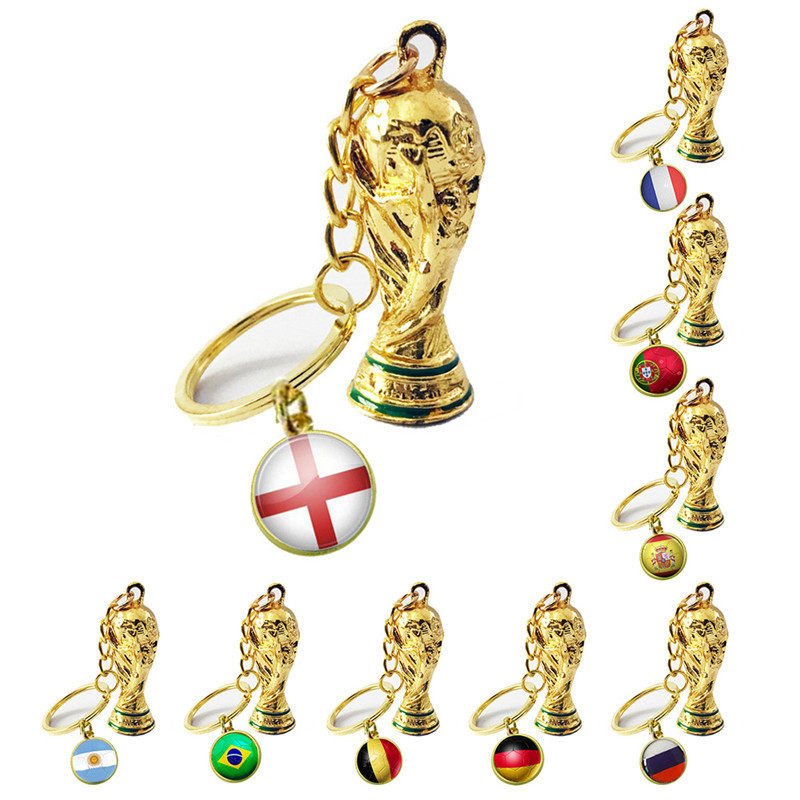 2018 Football Fan Souvenir Soccer National Flag Football Keyrings Metal Trophy Key Holder Ball Game Gifts