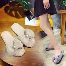 New 2017 Slippers Women Flip Flops Fluffy Faux Fur Flat Sandals Fashion Shoes Casual Slipper Flop Sandal