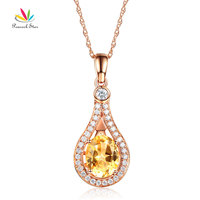 Peacock Star 14K Rose Gold 2 5 Ct Oval Yellow Topaz Pendant Necklace 0 26 Ct