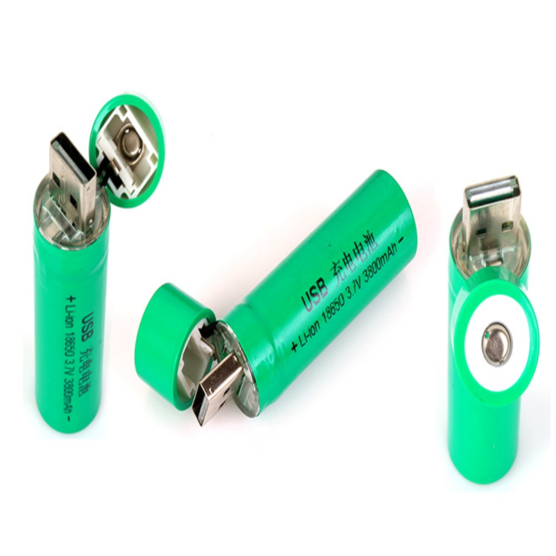 GTF 1PCS USB high power battery charging socket 18650 flashlight battery flashlight batteries Mini USB rechargeable Battery