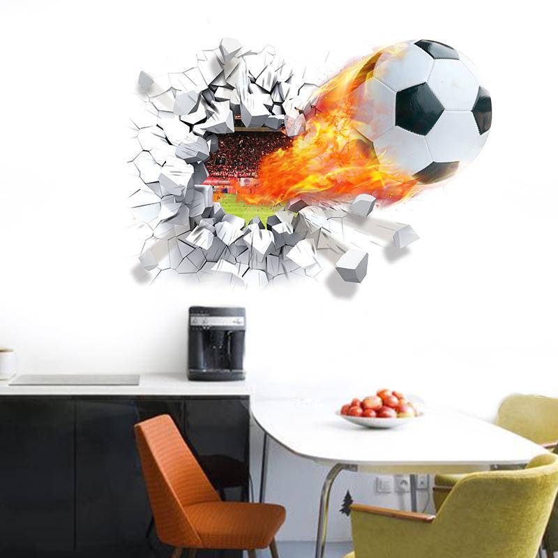 Firing Football Through Wall Stickers Kids Room Decoration 1473. Home Decals  Soccer Funs 3d Mural Art Sport Game Pvc Poster 3.0
