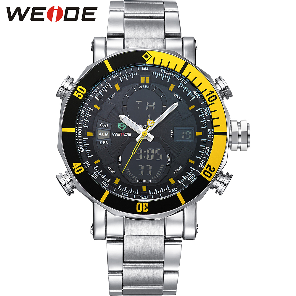 WEIDE Casual Men Watches Big Dial Analog Digital Dual Time Alarm Stopwatch Auto Date Display Stainless Steel Band Military Watch weide casual luxury genuin new watch men quartz digital date alarm waterproof clock relojes double display multiple time zone