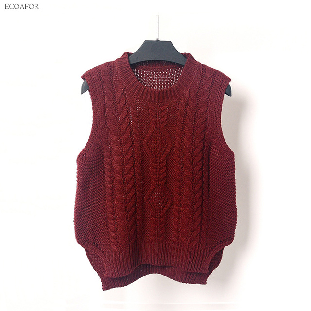 Round Neck Cable Knit Vest Sweater Women Preppy Style Sleeveless Pure Color  Split Slit Hem O-Neck T Jumper Female Vest Pullovers 2b25eaddf