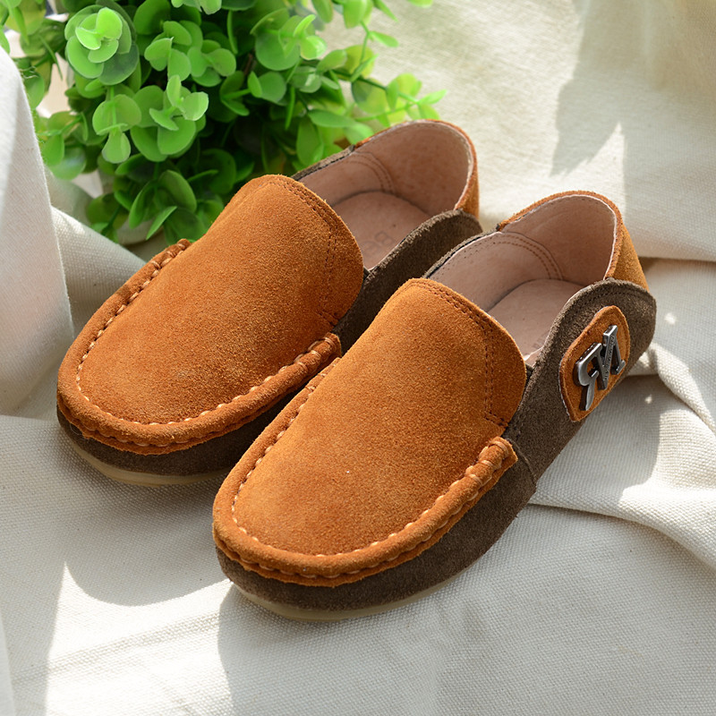 Cowhide Children Sneakers Genuine Suede Leather G Loafers Shoes Kids Casual Shoes Boys Moccasin-gommino
