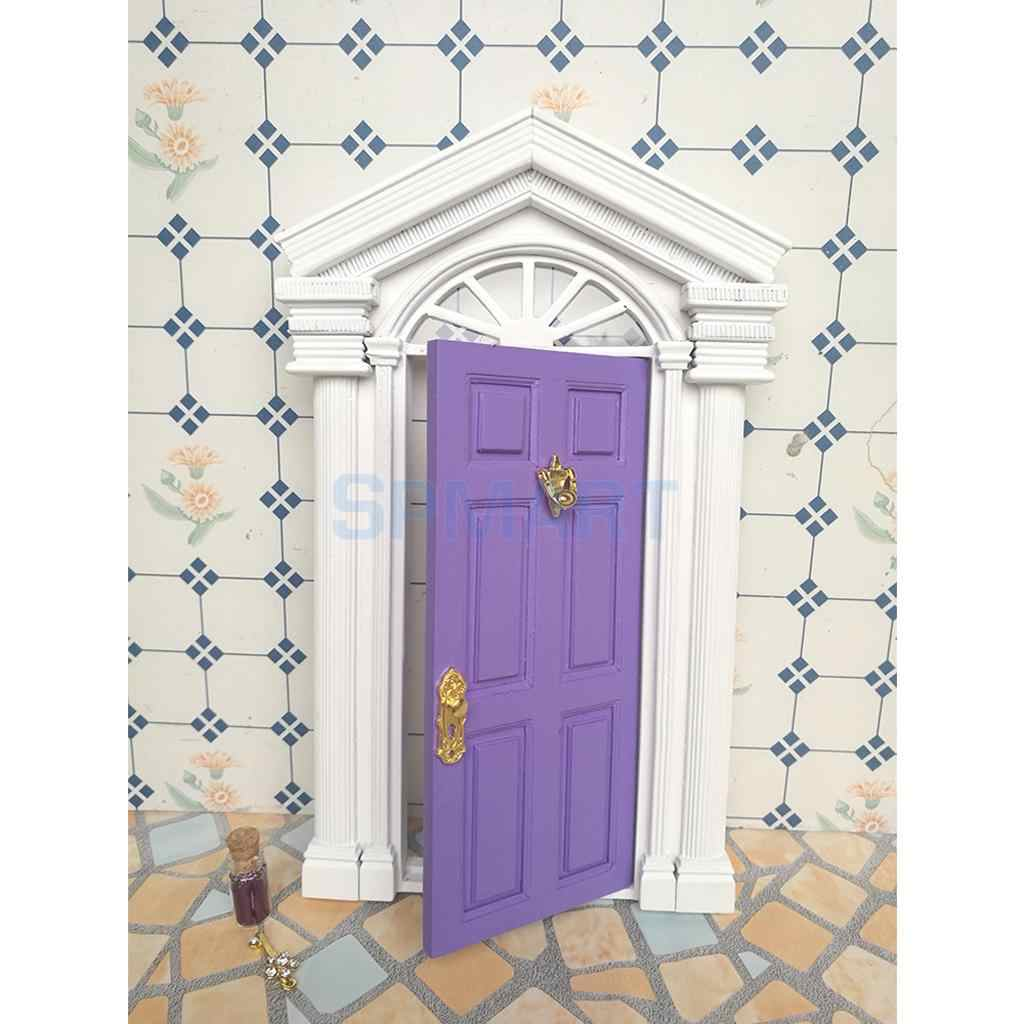 Blue Wooden Front Door Dollhouse Miniature Accessory for European Villa