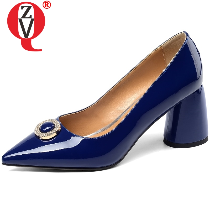 ZVQ women s fashion pointed toe genuine leather high heels ladies new style good quality brand