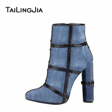 Woman Jean Blue Block High Heel Cowboy Boots Pointed Toe Female Comfortable Black Ankle Boots With Bands Ladies Winter Boots ladies sexy pointed toe blue denim lace up short boots super high heel jean ankle booties street fashion boots