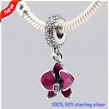 Se adapta a Pandora pulseras orquídea encantos de plata con esmalte púrpura Original 100% 925 cuentas de plata de la joyería DIY venta al por mayor 232