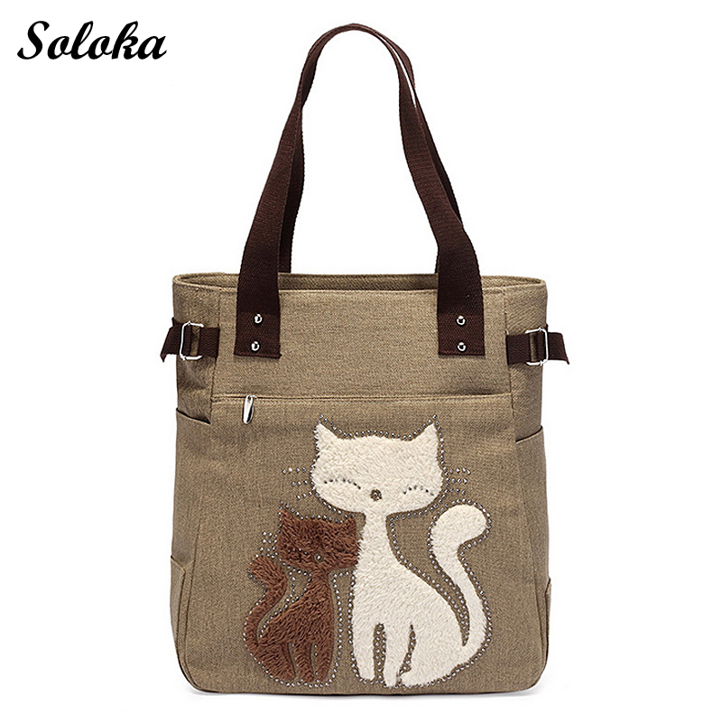 2018 Casual Summer Canvas Shoulder Bag Women Shopping Handbag Beach Bags Cute Cat Large Capacity Tote Bag miyahouse cute cat printed beach bag women large capacity shopping bags vintage female single shoulder bag canvas ladies handbag