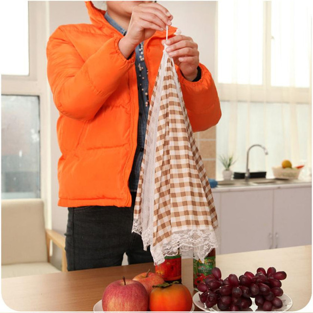 33CM Kitchen Folded Food Cover Umbrella Half Clear Mesh Hygiene Grid Food Dish Cover Kitchenware covering Cap Dirt dust prevent