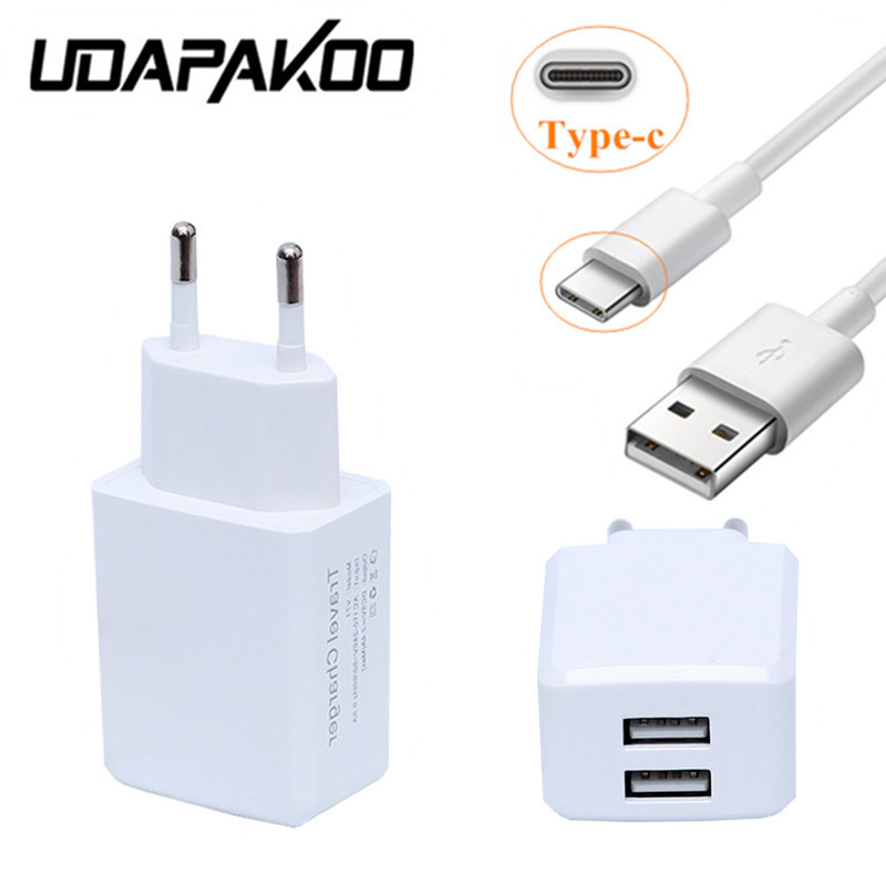 EU/US 2 port usb AC 2A fast Charger adapter + 1M USB Type C cable for samsung s8 Huawei P10 mate 9 LG G6 Xiaomi mi5 Nexus 5X 6P