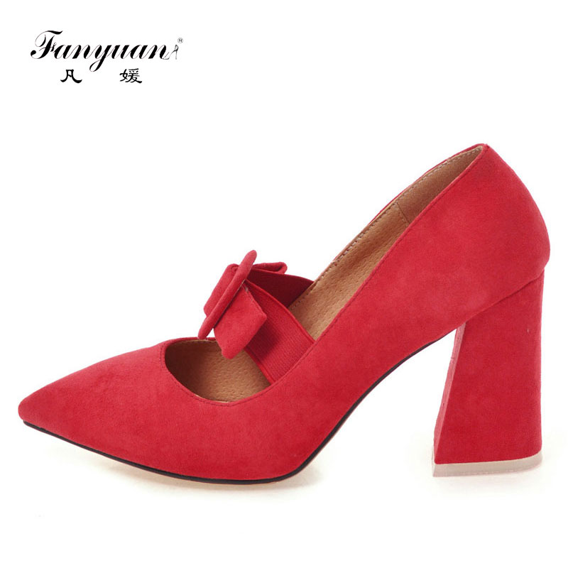Fanyuan Women Pumps Wedding Shoes Platform High Heels 7 colors Mary Jane Shoes Block Heel Ladies Party Shoes Large Size 31-46 gold lace pumps women mary jane shoes crystal pearl studded sandals red black pink ladies strange high heels wedding shoes