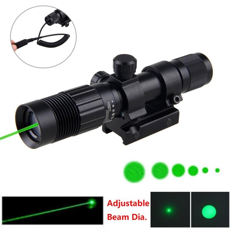 5 mW vert tactique réglable Zoomable Laser viseur designateur + fusil portée de fusil chasse 20-21mm Rail Mount + 16340 Li-ion batterie
