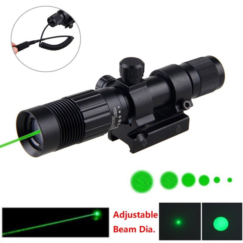 5mW Green Tactical Adjustable Zoomable Laser Sight Designator+Rifle Gun Scope Hunting 20-21mm Rail Mount+16340 Li-ion Battery