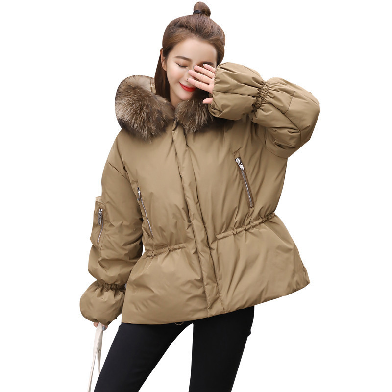 Fashion Korean Puff Sleeve Raccoon Fur Large Collar Short Slim Womens Winter Coat 2018 winter down jacket