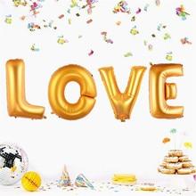 "4PCS/lot 40″ Super Large ""LOVE"" Gold Aluminum Foil Balloon Wedding Festival Decoration Baloons Valentine Anniversary Ballons"