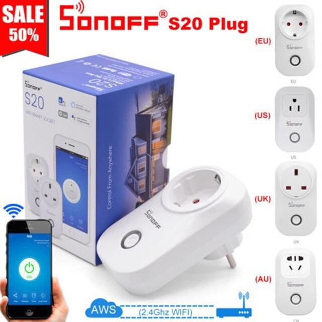 Sonoff S20 Reino Unido UE nos es macho Wifi enchufe interruptor inalámbrico remoto APP enchufe interruptor de sincronización de casa inteligente alexa Google