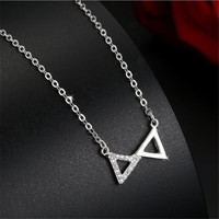 Creative Llady Necklace Cross Triangle Pendant Collarbone Chain Fashion The Design Feels Necklace Sterling Silver Jewelry