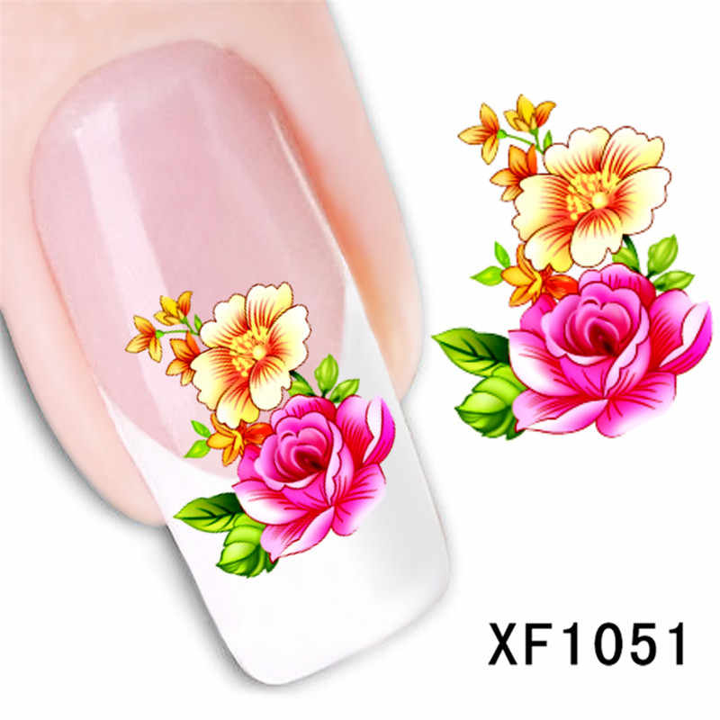 rose flower design Water Transfer Nails Art Sticker decals lady women manicure tools Nail Wraps Decals wholesale XF1051