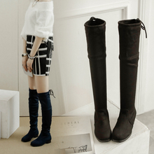 Euro size 34-43 elasticity sexy women over the knee boots round toe flat heel women's boots winter warm shoes Botas