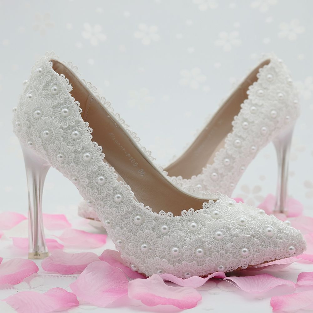 ФОТО Women Shoes White Wedding shoe Pearl Lace flowers pointed tip of the Bride Shoes fine with High Heels classical Shoes Dress shoe