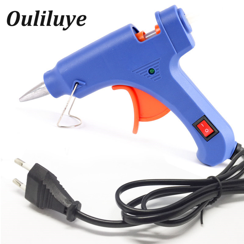 Профессиональные высокая температура расплава горячий клей пистолет 20 Вт ремонт инструмент Тепло пистолет синий мини пистолет ЕС Plug использование 7 мм горячий клей пистолет торчит Handy нагреватель